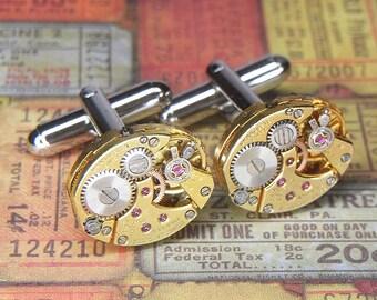 Steampunk Cufflinks Cuff Links - Vintage Gold LUCIEN PICCARD Watch Movements - Torch SOLDERED - Wedding Anniversary Gift - Striking Set