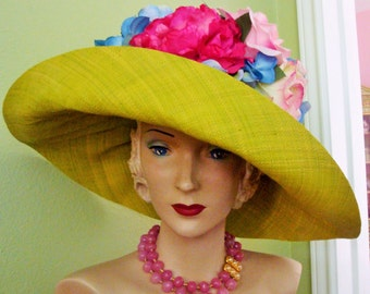 Pink Roses Hat Designer Custom, Raffia, Pinks Greens, Millinery Roses, Floral, Derby, Garden Party, Church, Wedding, Dress Hat