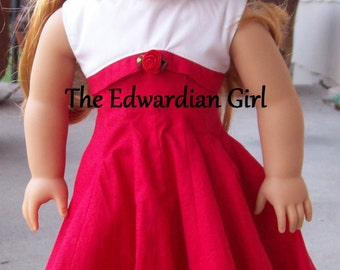 Red and white 1950's style play dress for 18 inch play dolls such as American Girl, Springfield, OG.  Maryellen, Molly, Melody. Made in USA