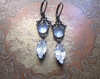 Blue Leaf Assemblage Earrings / Vintage Boho Jewelry / Mori Girl