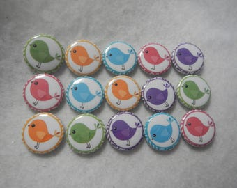 15 Rainbow Birds Birdy Pinback Button Shower Goody Gift Treat  Party Favors Brooches