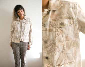Tribal Denim Jacket / Khaki Jean Jacket / White Grey Brown Camo Jacket / Geometric Abstract Button Up Camouflage Cropped All Over Print