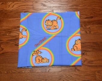 "vintage 70s Garfield rainbow material fabric 1970 cartoon fabric Jim Davis Odie sewing 35""x66"" ~2 yards"