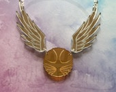 Golden Snitch Laser Cut Mirror Acrylic 16 Inch Necklace