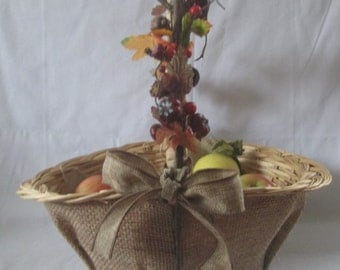 Unique large wicker basket . Great gift basket for the holidays.  Multi use basket. Table decor.