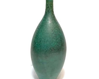 """Vintage Studio Pottery Vase, turquoise blue green 12"""" narrow neck bud vase, signed"""