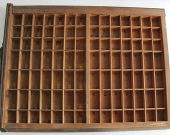 "Vintage Printers Drawer Printers Tray/  22.5 x 17"" Wood Letterpress Type Case Display Goudy Cottage Farm Decor Curiosities Curiosity Cabinet"