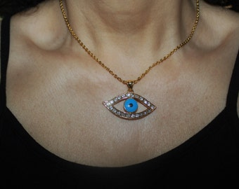 evil eye necklace, evil eye charm necklace, gold evil eye, large evil eye, evil eye