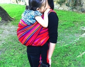 Baby Wrap Carrier  Mexican Senka Red w rainbow stripes Wrap available  in 5 and 5,5 yards