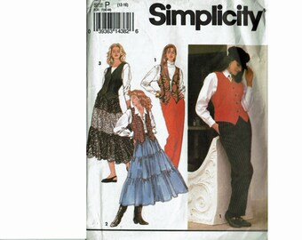 Ruffled Skirt Vest and Pants Uncut Sewing Pattern Sizes 12 14 16 Bust 34 36 38 Square Dancing Western Wear Ladies Misses Simplicity 8548