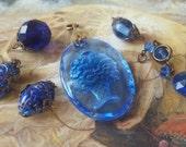 Vintage Rare Cobalt Scarab DECO Czech Art Glass Pendants & Pieces UPCYCLED