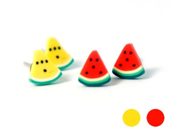 Tiny Baby Miniature Pie Shape Watermelon Fun Post Earrings - Yellow or Red