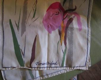 ELORIAN ORIGINAL SCARF iris flowers vintage scarf scarves free ship