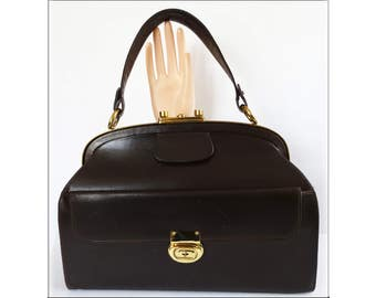 Vintage 1940s Purse | Rare | Eisenberg Original | Designer Purse | 1940s Handbag | Brown Purse | Leather Purse | Brown Handbag | Day Bag |
