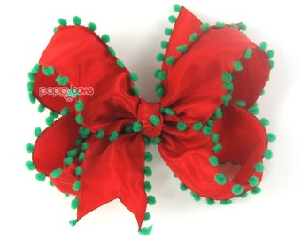 Girls Hair Bow, Christmas hair bow, red and green hair bow, 4 inch hair bows, girls hairbows, boutique bows, pom pom edge, baby toddler girl