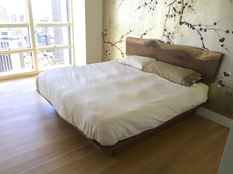 Platform Storage Bed With Live Edge Headboard