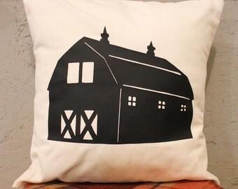 Barn Pillow Cover - Farm Pillow Cover - Pillow Cover With Barn - Heat Press Vinyl Barn - Barn Throw Pillow - Canvas Pillow - Accent Pillow
