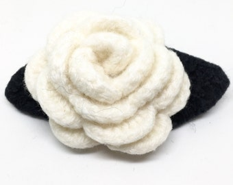 White Rose Felted Wool Flower Brooch  with charcoal gray Leaves