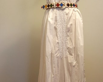 Vintage Mexican Wedding Dress. San Antonino Oaxaca. Hand Embroidered Openwork Lace. Med