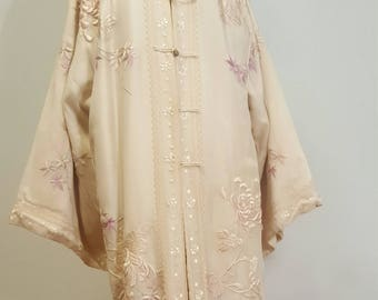 SALE Beautiful Vintage Antique Embroidered Asian Theater Coat Silk 1900 to 1920s Medium