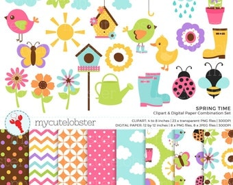 Spring Time Clipart & Digital Paper Set - clip art set of birds, flowers, sun, rain - personal use, small commercial use, instant download