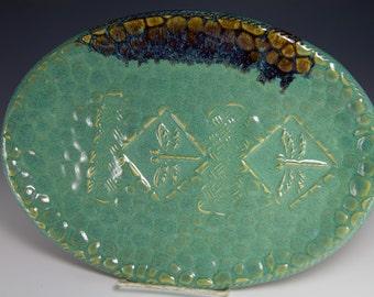 Green dragonfly platter