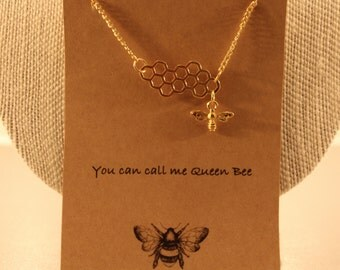 Bee Necklace: Queen Bee Wish Necklace, Bee Hive, Bee Comb, Bee Necklace, Bee Jewelry, Friendship Necklace, Best Friends, Bridesmaid