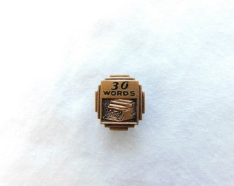 Vintage Copper or Bronze Typing Award Pin 30 Words  Dr24