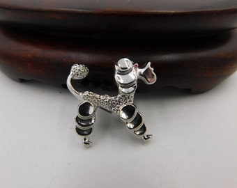 Vintage Mid Century Silver Chrome Poodle  Costume Jewelry Pin or Brooch