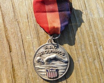 Vintage AAU Amateur Athletic Union Silver Swimming Medal Pin Ribbon