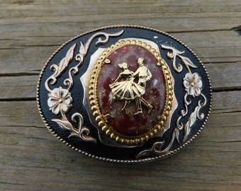 Vintage Western Style Fancy Cowboy Cowgirl Belt Buckle with Couple Square Dancing