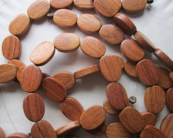 Brown Wood Oval Beads 20x15mm 12 Beads