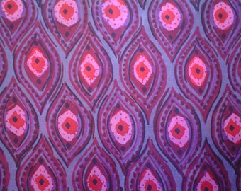 Vintage Silk Fabric Paisley-ish Print Pink and Red on Grey Hand Print by the Half Yard