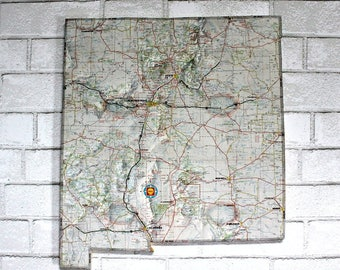 NEW MEXICO State Vintage Map Wall Decor (Medium size)