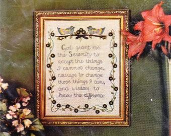 "Crewel Stitchery Kit Crewel Embroidery Sampler Kit ""Serenity Prayer"" Sealed"