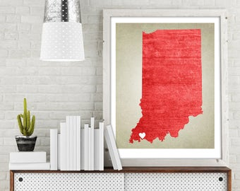 Indiana | State Map Print, State Map Art, State Map, Map Art, Map for Home, Anniversary Gift, Birthday Gift, Wedding Gift, State Map Poster