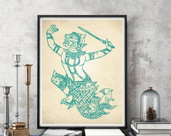 Hanuman Art Print, Hindu Art Print, Hinduism Decor, Hanuman Poster, Indian Wall Art, Indian Art, Indian Decor, Hindu God Art, Hanuman Print