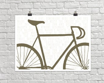 Let's Go For A Ride 18x24 Landscape Art Poster Giclee Typography Bike Bicycle Lisa Weedn