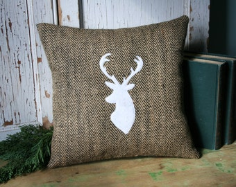 Stag Head PILLOW COVER - Deer Antlers Silhouette, 14 Inch