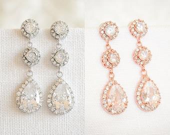 Crystal Bridal Earrings, Rose Gold Wedding Earrings, Dangle Drop Bridal Earrings, Halo Teardrop Bridal Earrings, Wedding Jewelry, VENETIA