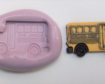 School bus Mold # 464 - silicone mold for crafts, jewelry, resin, porcelain, clay, candies, baking, plastic, metal and more uses.