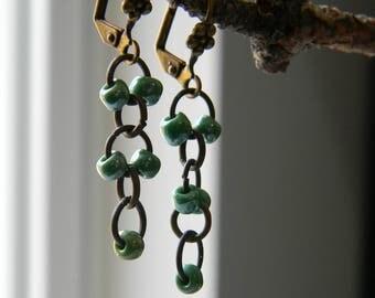 Dangle earrings cascading earrings green glass earrings delicate earrings beaded jewelry spring green simple jewelry summer fashion