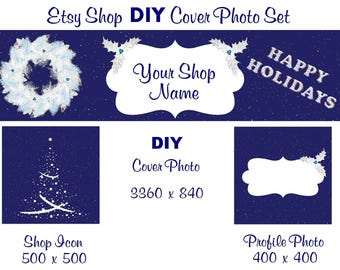 Etsy Shop Banner New Size Cover Photo Set DIY Add Your Shop Name Blue Christmas DIY Instant Download