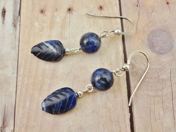 Sodalite Earrings, Leaf Earrings, Sodalite Jewelry, Blue Stone Earrings, Blue Stone Jewelry, Blue Gemstone Jewelry, boho earrings