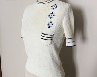 Vintage 70s White Knit Embroidered Shirt