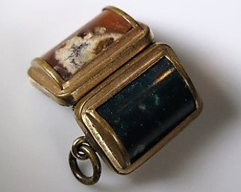 Bloodstone Agate Double Photo Locket Original Fittings 1860s Very Fab
