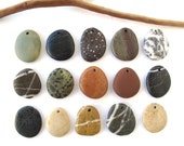 Beach Stone Pendants Mediterranean River Stone Pendants Top Drilled Natural Stones DIY Jewelry Findings Pebble Beads PENDANT LOT 25-28 mm