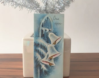 Vintage Unused Mid Century Christmas Card, Gold Glitter, White Bells, Snow, Blue Christmas