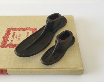 Vintage Cast Iron Metal Shoe Lasts, Lot of Two (2) Shoe Forms, Industrial Cobbler, Shoemaker Tools