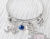 Daughter in Law Bracelet -Marriage made you famiily love made you my daughter -From Mother in Law Jewelry-Expandable Bangle-Charm Bracelet